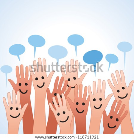 funny colored fingers with speech bubble - stock vector
