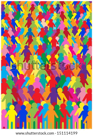 funny colorful cartoon illustration of crowd of people - stock vector