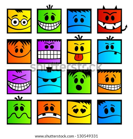 Funny colorful emotions. - stock vector