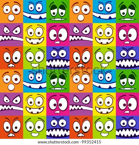 Funny colorful emotions seamless pattern. - stock vector