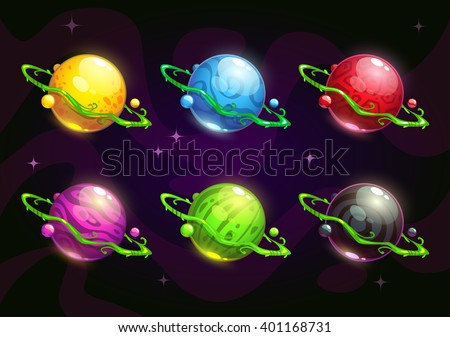 Funny colorful fantasy planets set on cosmic background. Vector space illustration. GUI items - stock vector