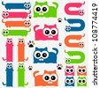 Funny colorful kittens set - stock vector