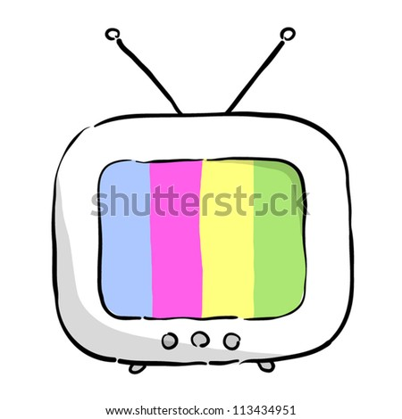 Funny colorful TV with antenna editable isolated vector illustration - stock vector