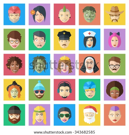 Funny colorful vector characters set. Flat style people faces icons. Cute male and female avatars. - stock vector