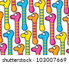 Funny colorful worms, pattern - stock vector