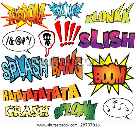 Funny comic book sound effects - stock vector