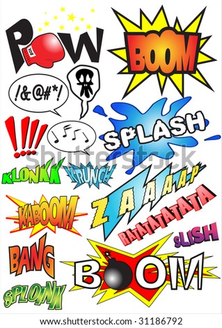 Funny comic book sounds vector illustration - stock vector