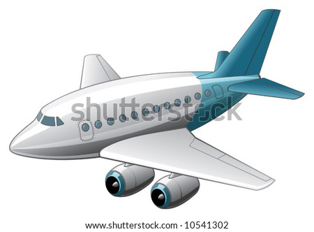 Funny comic style airbus isolated on white - stock vector