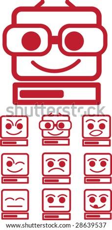 funny computer faces - stock vector