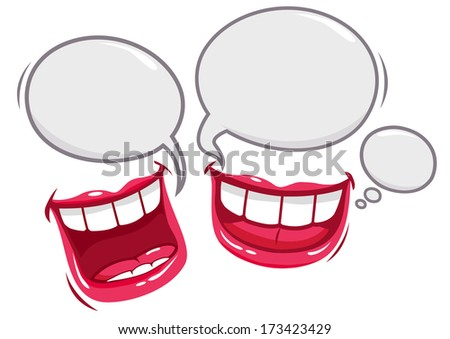 Funny conversation. Two mouths with speech bubbles talking and laughing. - stock vector