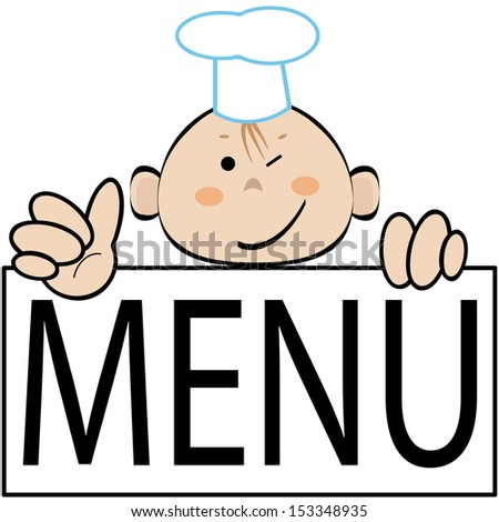 Funny cook with menu, vector. - stock vector