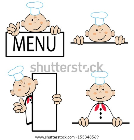 Funny cook with menu, vector set. - stock vector