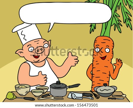 Funny cooking show - pig introduced his host carrot - with speech bubble - stock vector