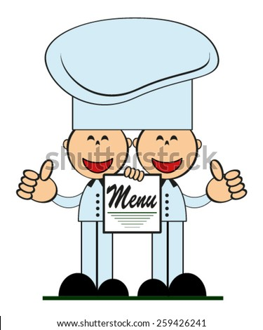 Funny cooks with menu, vector . - stock vector