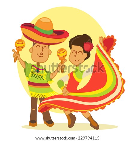 Funny couple of cartoon dancing mexicans in national costumes. Vector illustration - stock vector