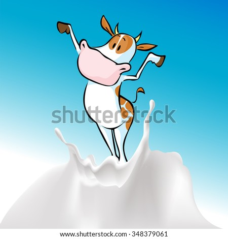 funny cow and milk splash - vector illustration