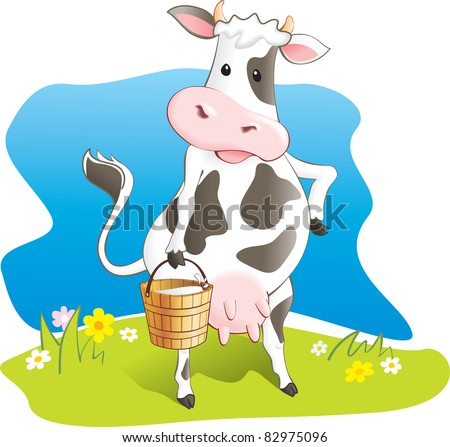 Funny cow carry wooden pail with milk. Lawn, flowers and sky. Vector illustration - stock vector