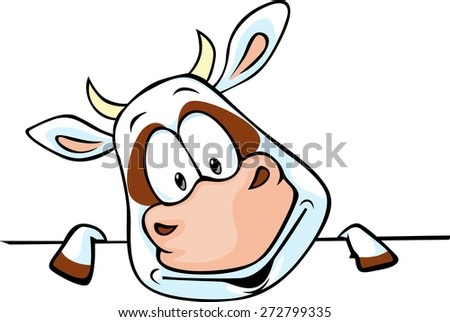 funny cow cartoon peeking out - stock vector