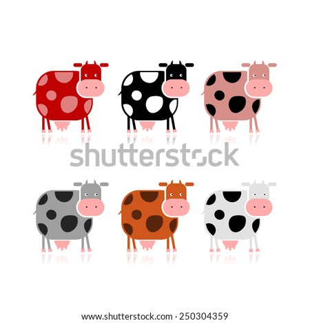 Funny cow, collection for your design. Vector illustration - stock vector