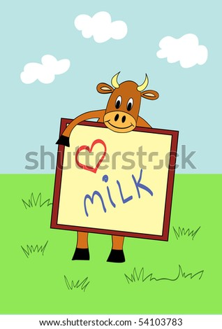 Funny cow in child like style, vector illustration - stock vector