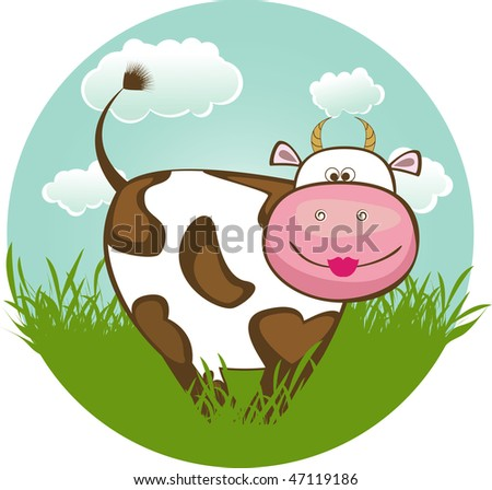 Funny cow on green grass with blue sky and clouds - stock vector