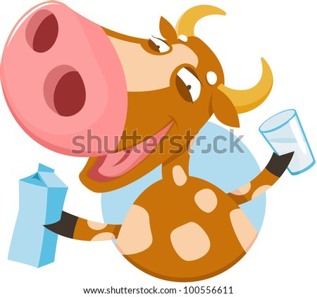 Funny cow with milk - stock vector