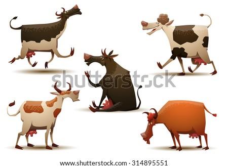 Funny cows set, vector - stock vector