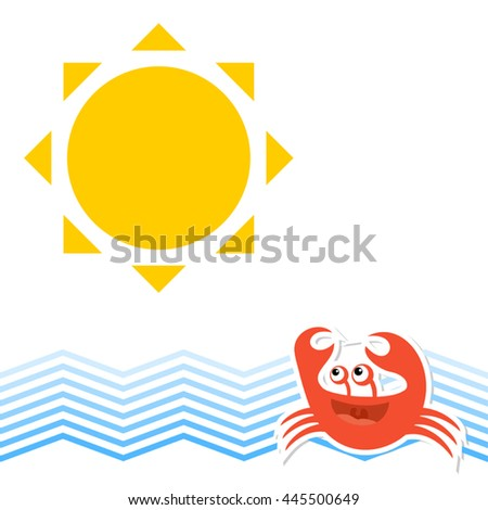 funny crab - stock vector