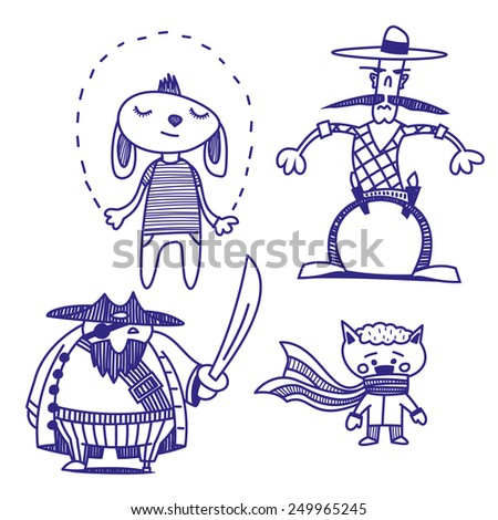 Funny creatures vector drawings set - stock vector