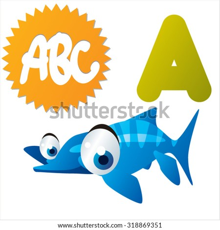Funny Cute Animals ABC: Swimming Dinos: A is for Acamptonectes - stock vector