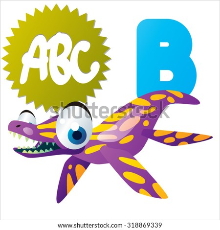 Funny Cute Animals ABC: Swimming Dinos: B  is for Brachauchenius - stock vector