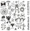 Funny Cute Black And White Monsters - stock vector