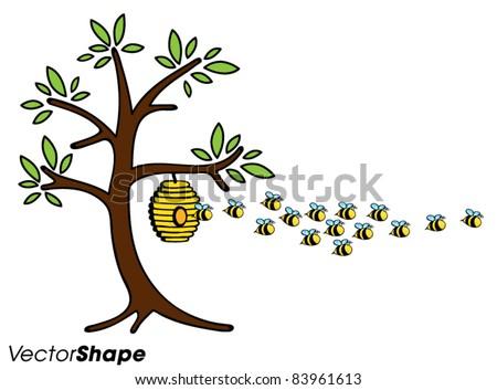 Cartoon Beehive Clipart Cartoon Tree With Beehive