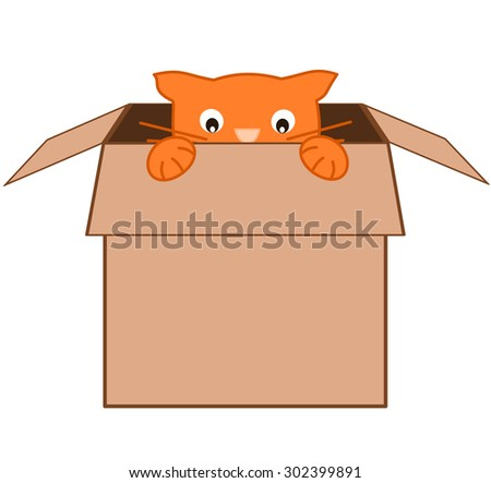 funny cute cartoon orange cat in carton box vector illustration - stock vector
