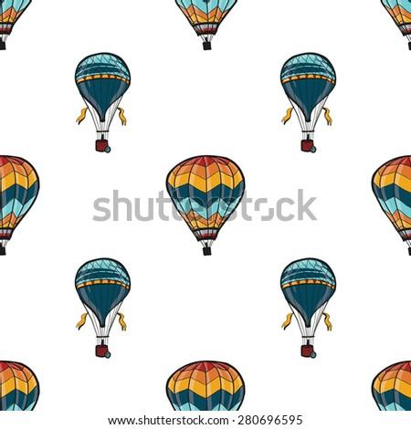 Funny cute hand drawn kids toy aeronautic transport. Baby bright cartoon aerostat and balloon vector seamless pattern on white background. Set of isolated elements. Chess grid order