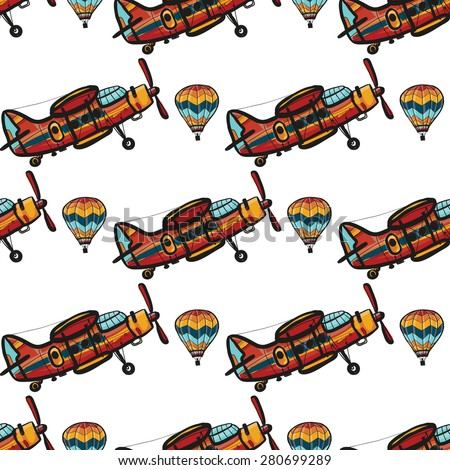 Funny cute hand drawn kids toy aeronautic transport. Baby bright cartoon balloon and biplane vector seamless pattern on white background. Set of isolated elements. Chess grid order - stock vector