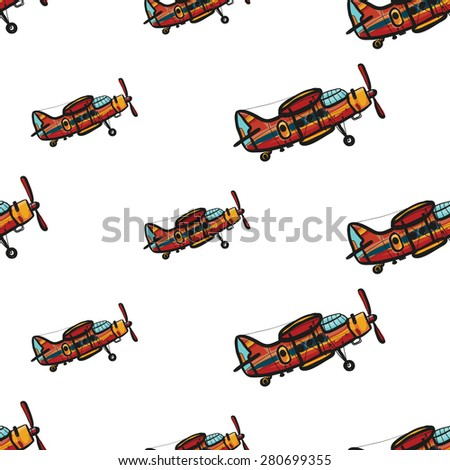 Funny cute hand drawn kids toy aeronautic transport. Baby bright cartoon biplane vector seamless pattern on white background. Set of isolated elements. Chess grid order - stock vector
