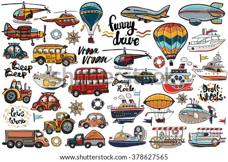 Funny cute hand drawn kids toy transport. Baby bright cartoon air transport, water transport and road transport child items vector on light background. Set of isolated elements. - stock vector
