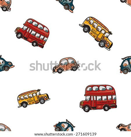 Funny cute hand drawn kids toy transport. Baby bright cartoon bus and car vector seamless pattern on white background. Set of isolated elements. Chess grid order - stock vector