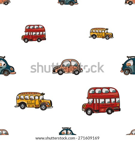Funny cute hand drawn kids toy transport. Baby bright cartoon bus and car vector seamless pattern on white background. Set of isolated elements. Chess grid order