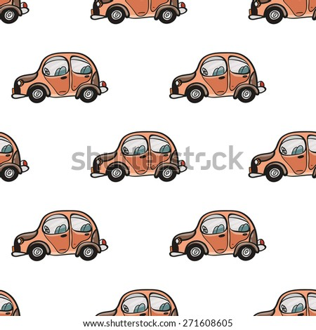 Funny cute hand drawn kids toy transport. Baby bright cartoon car vector seamless pattern on white background. Set of isolated elements. Chess grid order