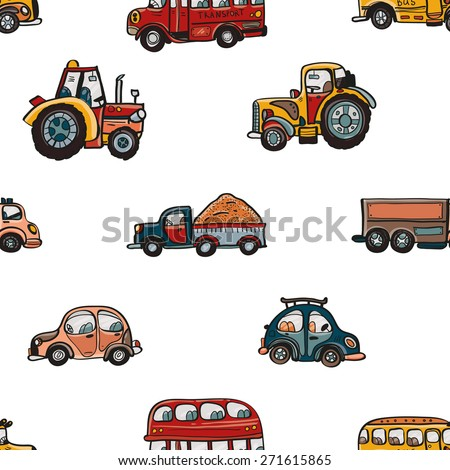 Funny cute hand drawn kids toy transport. Baby bright cartoon tractor, bus, truck, car vector seamless pattern on white background. Set of isolated elements. Chess grid order - stock vector
