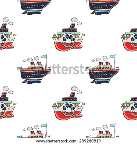 Funny cute hand drawn kids toy water transport for nursery decoration. Baby bright cartoon steamship and Cruise-ship vector seamless pattern on white background. Set of isolated elements - stock vector