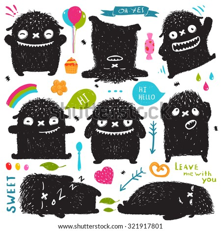 Funny Cute Little Black Monster Holiday Clip Art Collection. Sweet kids playful fictional character picture post card designer set with colorful items. Vector illustration. - stock vector