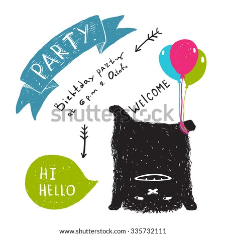 Funny Cute Little Black Monster Party Greeting Card or Invitation. Sweet kids playful upside down fictional character picture post card with a ribbon. Vector illustration. - stock vector