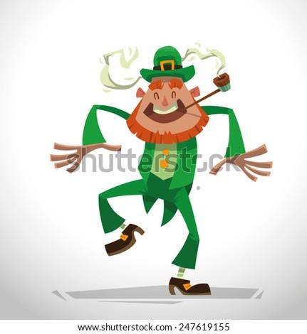 Funny dancing leprechaun, vector - stock vector