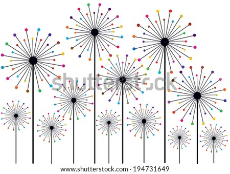funny dandelions silhouettes with colorful dots - stock vector