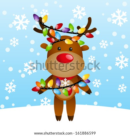 Funny deer with color light bulbs - stock vector