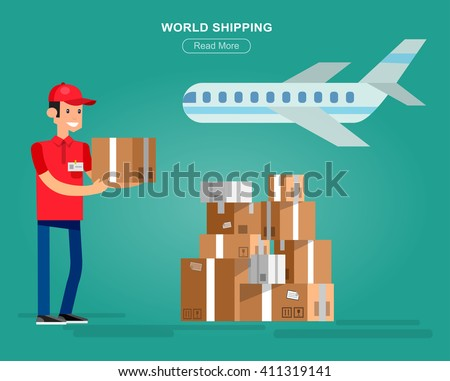 Funny Delivery character man fast to the door and by courier flat set - stock vector