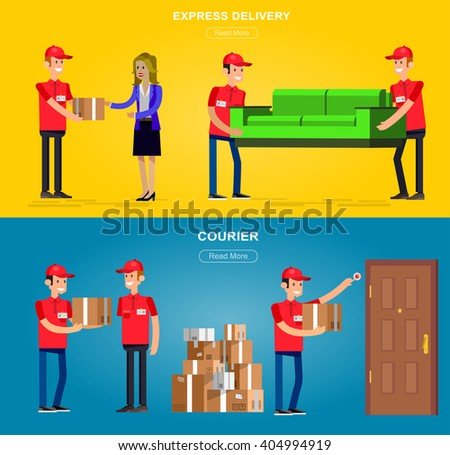 Funny Delivery character man. Vector detailed illustration Funny Delivery character man. Vector detailed illustration Funny Delivery character man. Vector detailed illustration  - stock vector